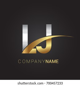 initial letter LJ logotype company name colored gold and silver swoosh design. isolated on black background.