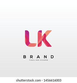 Initial letter LK logo with colorful background, letter combination logo design for creative industry, web, business and company. - Vector