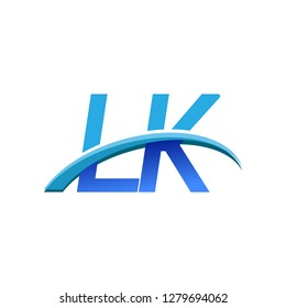 initial letter LK logotype company name colored blue and swoosh design. vector logo for business and company identity.