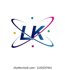 initial letter LK logotype science icon colored blue, red, green and yellow swoosh design. vector logo for business and company identity.
