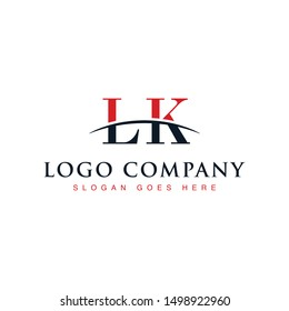 Initial letter LK, overlapping movement swoosh horizon logo company design inspiration in red and dark blue color vector