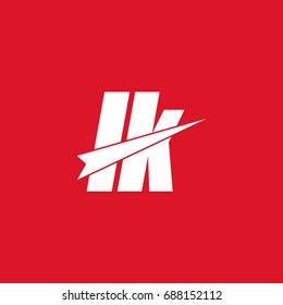 initial letter lk white flat logo vector in red background