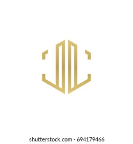 Initial letter LL mirror, minimalist line art hexagon shape logo, gold color