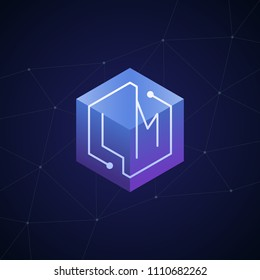 Initial letter LM, block chain, looping mono line circuit letter on hexagon cube logo, blue magenta gradient color on black blue network background