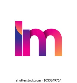 Initial Letter LM Logo Lowercase, magenta and orange, Modern and Simple Logo Design.