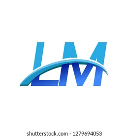 initial letter LM logotype company name colored blue and swoosh design. vector logo for business and company identity.