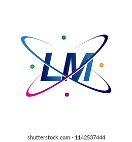 initial letter LM logotype science icon colored blue, red, green and yellow swoosh design. vector logo for business and company identity.