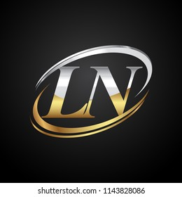 initial letter LN logotype company name colored gold and silver swoosh design. isolated on black background.