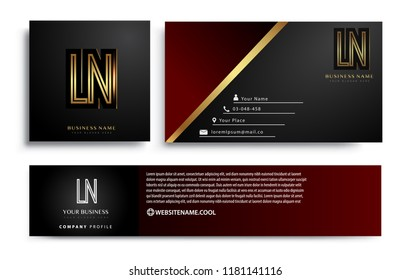 initial letter LN logotype company name colored gold elegant design. Vector sets for business identity on black background.