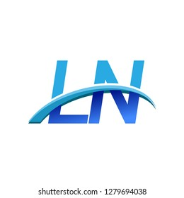 initial letter LN logotype company name colored blue and swoosh design. vector logo for business and company identity.