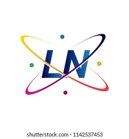 initial letter LN logotype science icon colored blue, red, green and yellow swoosh design. vector logo for business and company identity.
