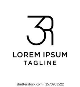 initial letter logo 3R, R3 logo template