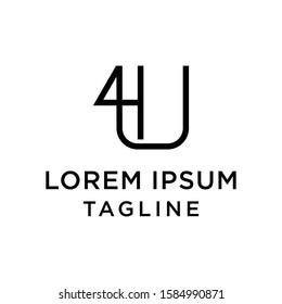 initial letter logo 4U, U4 logo template