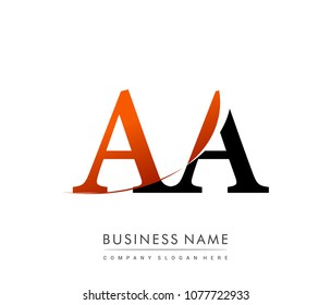 initial letter logo AA colored red and black, Vector logo design template elements for your business or company identity