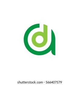 initial letter logo ad, da, d inside a rounded lowercase green flat