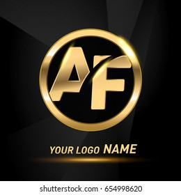 initial letter logo AF inside circle shape, rounded lowercase logo gold on dark background