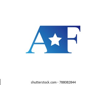 Initial letter logo AF uppercase blue template with star