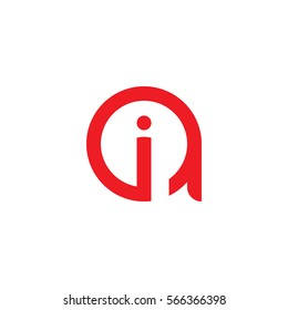 initial letter logo ai, ia, i inside a rounded lowercase red flat