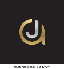 initial letter logo aj, ja, j inside a rounded lowercase logo gold silver