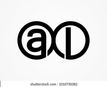 Initial letter logo al lowercase related in circles black