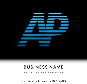 initial letter logo AP colored blue with striped compotition, Vector logo design template elements for your business or company identity