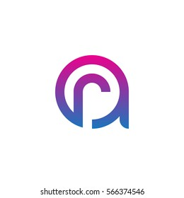 initial letter logo ar, ra, r inside a rounded lowercase blue purple
