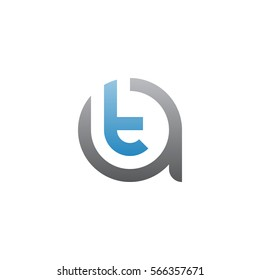 initial letter logo at, ta, t inside a rounded lowercase blue black