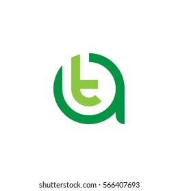 initial letter logo at, ta, t inside a rounded lowercase green flat