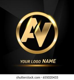 initial letter logo AV inside circle shape, rounded lowercase logo gold on dark background