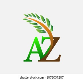 initial letter logo AZ, Agriculture wheat Logo Template vector icon design colored green and brown.