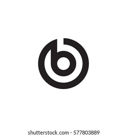 initial letter logo b inside circle shape, ob, bo, b inside o rounded lowercase black monogram