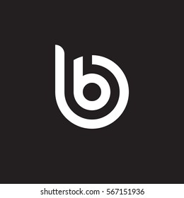 initial letter logo bb, b inside b rounded lowercase white black background