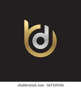 initial letter logo bd, db, d inside b rounded lowercase logo gold silver