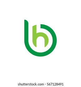 initial letter logo bh, hb, h inside b rounded lowercase green flat