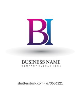 initial letter logo BI colored red and blue, Vector logo design template elements for your business or company identity