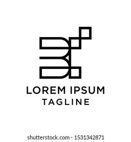 initial letter logo BI, IB logo template