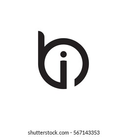 initial letter logo bi, ib, i inside b rounded lowercase black monogram