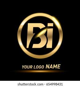 initial letter logo BI inside circle shape, rounded lowercase logo gold on dark background