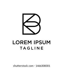 initial letter logo BK, KB logo template