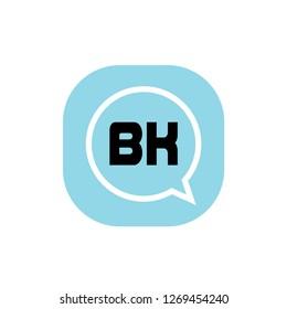 Initial Letter Logo BK Template Design