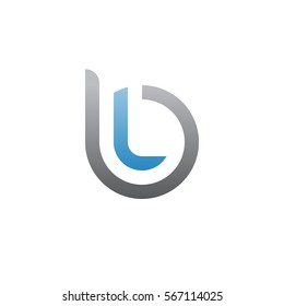 initial letter logo bl, lb, l inside b rounded lowercase blue gray