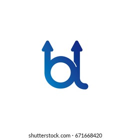 initial letter logo bl, lb, l, b, arrow rounded lowercase blue