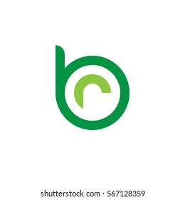 initial letter logo br, rb, r inside b rounded lowercase green flat