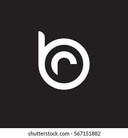 initial letter logo br, rb, r inside b rounded lowercase white black background