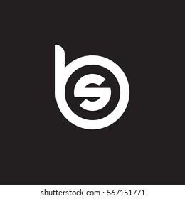 initial letter logo bs, sb, s inside b rounded lowercase white black background