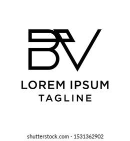 initial letter logo BV, VB logo template