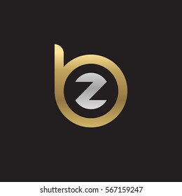 initial letter logo bz, zb, z inside b rounded lowercase logo gold silver