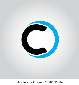 Initial Letter logo C inside circle shape, OC, CO, C inside O rounded lowercase black and blue color Vector