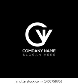 Initial letter logo c w cw wc w inside c rounded uppercase white black background. Modern business logo design template for company.