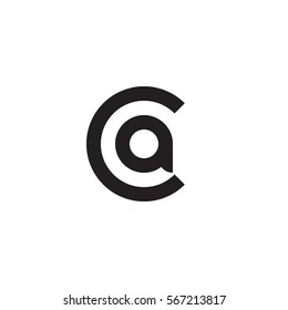 initial letter logo ca, ac, a inside c rounded lowercase black monogram